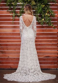 """""""CLOVER"""" Long Sleeve Lace Crocheted Boho Wedding Gown by Dreamers and Lovers"""