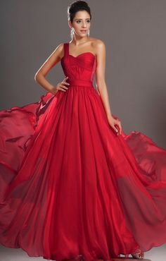 $135 Red prom dress one shoulder long chiffon prom // comes in other colours