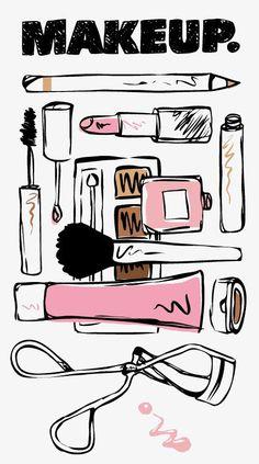 Cosmetic, illustration, decopage up wallpaper Makeup Illustration, Fashion Illustration Sketches, Beauty Illustrations, Japanese Illustration, Her Wallpaper, Iphone Wallpaper, Makeup Drawing, Makeup Art, Beauty Makeup