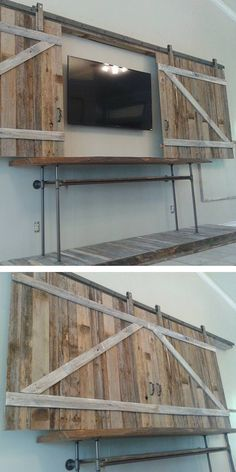 Custom Rustic Wall Entertainment Center In A Container Home ❤︎