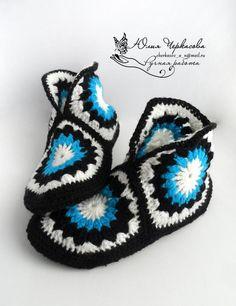 Oh vad jag önskar att jag kunde virka. Easy Crochet Slippers, Crochet Slipper Pattern, Crochet Cardigan Pattern, Crochet Socks, Booties Crochet, Love Crochet, Crochet Gifts, Knitting Socks, Crochet Clothes