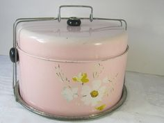 Perfect for picnics, family gatherings and church bake sales! Vintage PINK Cake & Pie Safe CARRIER  by LavenderGardenCottag