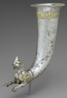 Gilded Silver Rhyton terminating in the forepart of a wild cat, 1st c. BC –1st c. AD. Parthian period. Iran