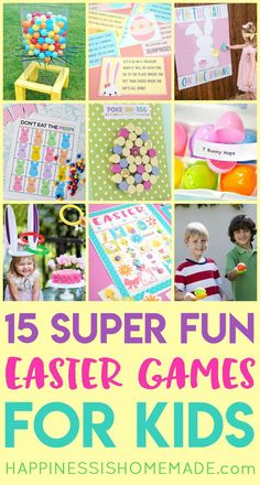 15 Easter Games for Kids: Host the best Easter party ever with these 15 Awesome Easter games for kids and adults! TONS of fun laugh-out-loud Easter party games for all ages! activities for adults party games 15 Awesome Easter Games for Kids Easter Party Games, Easter Activities For Kids, Kids Party Games, Easter Crafts For Kids, Games For Easter, Easter Ideas For Kids, Sunday Activities, Easter Stuff, Bunny Crafts