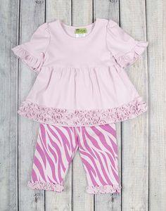 Stellybelly Pink Zebra Knit Sophia Legging Set