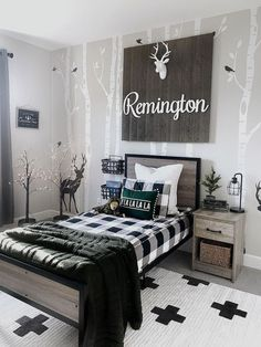 @ourpnw_home is proving that a blend of rustic and black and white looks amazing in a boys room! Featuring our Erath Area Rug, this room takes us to the woods! 🌲 🌲 🌲 If you've been dreaming of getting outside, check out this amazing mural wall! Boys Room Decor, Boy Room, Inspirational Wallpapers, Rugs Online, Area Rugs, New Homes, Interior Design, Furniture, Home Decor