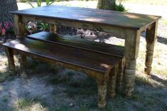 I love this table but would have a bench on one side and chairs on the other. Maybe burlap on the chairs...
