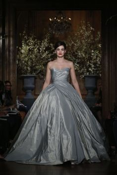 How about a perfectly divine gray ball gown wedding gown from @TheRomonaKeveza?
