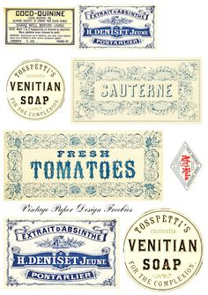 Vintage Labels - Free Printables. Click on blog image to view high res images for download.