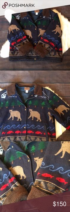 VTG Pendleton lined wool winter pattern jacket 💕 Gorgeous warm wool coat with patterns of mountains, bears, trees, etc. Inside of coat is lined Pendleton Jackets & Coats