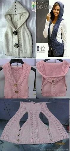 Cute knit sweater vest with hood and button up sides pattern