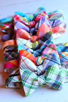 Man in Pink | Preppy Plaid Bow ties. I love when guys where bow ties