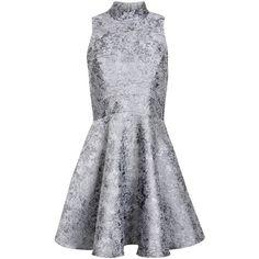 Miss Selfridge Silver High Neck Jacquard Dress