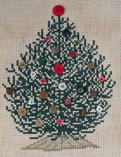 SALE Christmas Button Tree Cross Stitch Pillow by BobbinAround4U