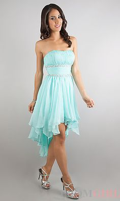 Strapless High Low Prom Dress  at PromGirl.com