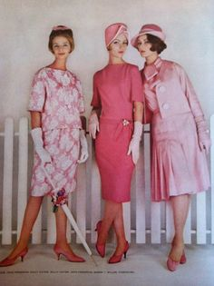Pretty in pink? 1961 fashions...at a time when my mom drove a pink Buick and my family lived in a (wait for it!) pink house!!