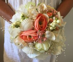 Beach Wedding Bouquet Shell Bouquet Coral Bouquet by LCFloral