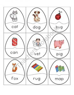 CVC Word and Picture Egg Puzzles product from Growing in Pre K on TeachersNotebook.com