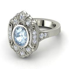 "Oval Aquamarine 14K White Gold Ring with Diamond | Arya Ring | Gemvara ""love the stone"""