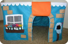Felt Table Cover-Playhouse.  Great use of space.  I've known of this for a while, but haven't made it.  Maybe for my grandkids!