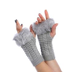 Light Grey Fur Trim Cable Knit Winter Fingerless Gloves Arm Warmers