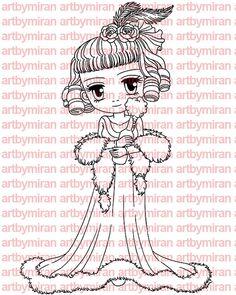 Digital Stamp - Charlotte, Digi Stamp, Coloring page, Printable Line art for Card and Craft Supply