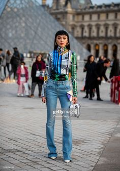 A guest is seen wearing checkered mixed colored blouse, denim jeans, black white bag outside Louis Vuitton during Paris Fashion Week Womenswear Spring Summer 2020 on October 2019 in Paris, France. Get premium, high resolution news photos at Getty Images Denim Blouse, Denim Jeans, Women Wear, Street Style, Black And White, Chic, Stylish, How To Wear, Color