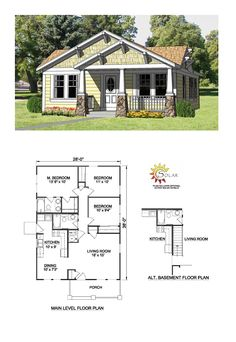 Country House Plan 94371 | Total Living Area: 1064 sq. ft., 3 bedrooms and 2 bathrooms. #countryhome