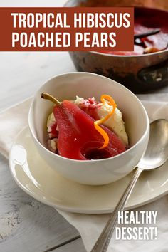 Tropical Hibiscus Poached Pear recipe made in white wine. Try this healthy dessert idea of poached pears this summer. Made with hibiscus tea bags, oranges, and vanilla. It's a quick simple dessert that you can serve alone and with ice cream. It's ready in just 45 minutes and serves 6, great for a summer party. The pears have a beautiful aesthetic and can be garnished with orange peel. For full recipe and to learn how to make poached pears visit USAPears.org. Pear Recipes Breakfast, Pear Deserts, Pear Cobbler, Pear Varieties, Simple Dessert, Quick Easy Desserts, Poached Pears, Hibiscus Tea, Orange Peel
