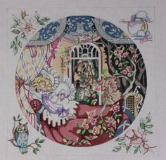 Edie & Ginger Sleeping Beauty P168 Hand Painted Needlepoint Canvas