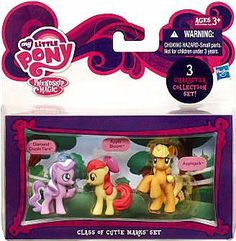 My Little Pony Friendship is Magic Class of Cutie Marks 3-Pack Apple Bloom, Diamond Dazzle Tiara & Applejack by Hasbro. $13.04. Highly detailed, includes scene backdrop. Brand new. 3.75 Inch scale Ponies. Window box packaging. Officially licensed My Little Pony product. These beautiful pony figures are ready to share adventures and fun! Youll have so much fun with APPLE BLOOM, DIAMOND DAZZLE TIARA and APPLEJACK. Your APPLE BLOOM figure has the beautiful red hair of your...