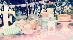 Our Just Darling Easter candy bar Candy Table, Candy Buffet, Doily Bunting, Easter Candy, French Country House, Doilies, Projects To Try, Dessert Tables, Homemade
