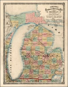 old maps of bay city, michigan | ... Map of Michigan . . . 1875 - Barry Lawrence Ruderman Antique Maps Inc
