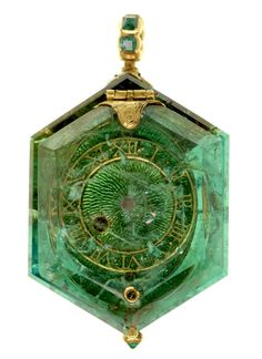 Ufansius Watch set into a single Colombian emerald crystal, circa 1600; the watch is part of the Cheapside Hoard, a cache of jewels and jewelry buried since the Great Fire of London in 1666 and rediscovered in 1912.      More from the Hoard here, here, and here.