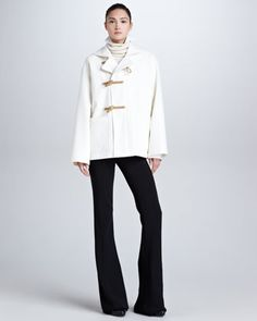 Short Duffle Coat, Long-Sleeve Cable-Knit Turtleneck & Crawford Boot-Cut Gabardine Pants by Ralph Lauren Collection at Neiman Marcus.