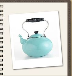 $50 For a teapot is outrageous. But I still love it   The aqua-blue teakettle has an old-fashioned look.