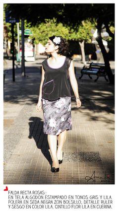Falda recta estampada en tela algodón.
