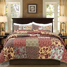 Buy Luxury Retro Floral Stitching Cotton Patchwork Bedspread Sets Quilt Queen Size - Topvintagestyle.com ✓ FREE DELIVERY possible on eligible purchases