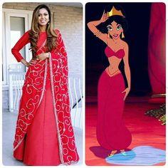 Disney Princess Jasmine saree style   www.tiabhuva.com  Instagram @tiabhuva Youtube.com/tiabhuva