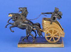 Montini, Tulio 1878 Verona Der Sieger. Bronze dunkel patiniert und vergoldet. Signiert. Marmorpli — Skulpturen, Möbel, Kunsthandwerk