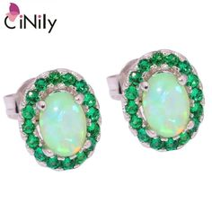 CiNily Created Green Fire Opal Green Quartz Silver Plated Earrings Wholesale for Women Jewelry Stud Earrings 10mm OH3772