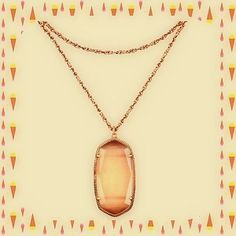 Kendra Scott Necklace Rae Peach Cats Eye Rose Gold Jewelry Chain Pendant New! #KendraScott #Pendant