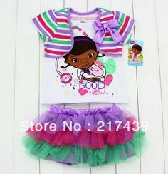 Free shipping girl girls DOC Mcstuffins short sleeve t shirt top+ skirt with underwear clothing outfit set suit 12 sets/lot $89.30