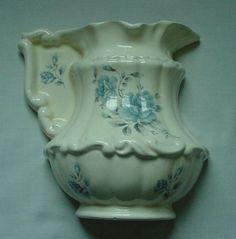 LOVELY VINTAGE PITCHER WALL POCKET BLUE FLORAL DESIGN NICE DETAIL CALIFORNIA  #Athena