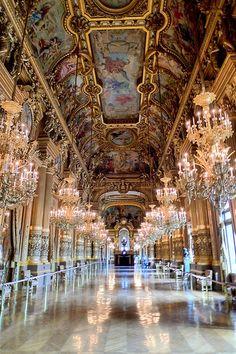 chandeliers inside the opera garnier, paris france