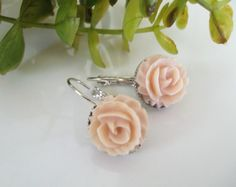 Peach Rose EarringsDusty Peach Leverback by Uniquebeadables