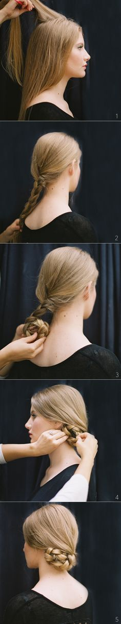 Tucked Braided Bun Hairstyles for Long Hair via oncewed.com