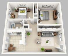 apartment floor plans 58 Ideas for apartment studio layout floor plans bath Small Apartment Layout, Small House Layout, House Layout Plans, Small House Design, House Layouts, Small House Plans, Apartment Design, 2 Bedroom Apartment, Small Apartment Plans