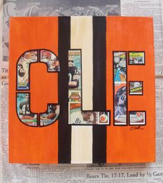CLEVELAND BROWNS  CLE Football Cards 12x12 Mixed by ColMarieSmith, $100.00