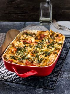 Lasagne au saumon, épinards, ricotta et tomates séchées